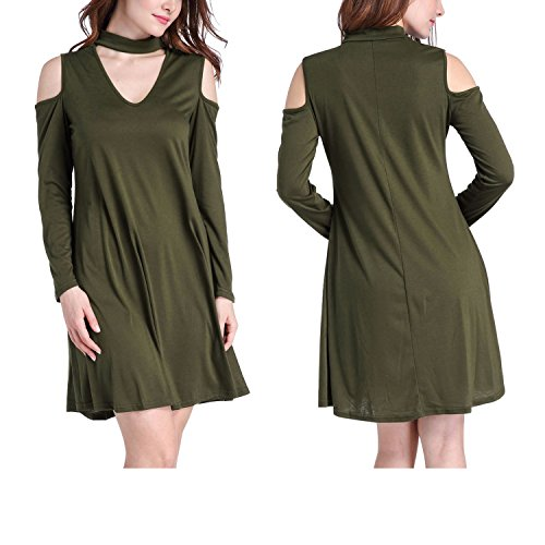 Glasgow Hanging - Robert Reyna Fashion Outer Hanging Neck Strapless Long Sleeves Put Loose Dress,ArmyGreen,L