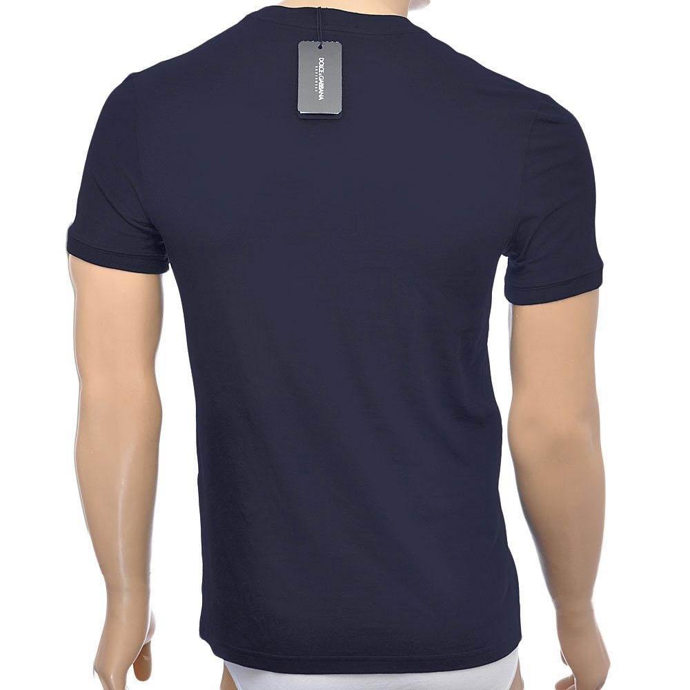Dolce & Gabbana interior de los hombres de la camiseta del deporte Cresta de cuello redondo - Blue Navy: Small: Amazon.es: Ropa y accesorios