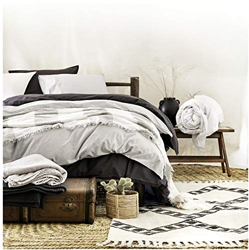 Classic Chambray Bedding 100% Washed Cotton Duvet Quilt Cover 3pc Set Solid Striped Grey Navy Blue Heathered Natural Gray Soft Modern City Chic Style Twin Full/Queen or King (King, Ice Grey)