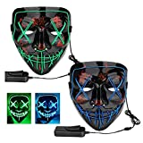 2-Pack Halloween Mask Scary LED Light Up Mask for Halloween Festival Cosplay Costume Party