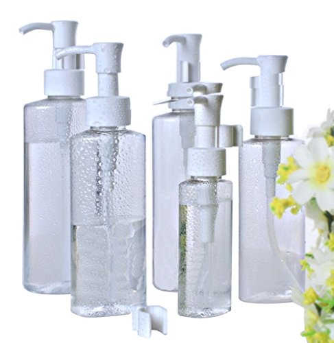 - 3PCS Transparent Cosmetic Flat Shoulder Pump Bottle With Locking System-Lotion Cream Cleansing Oil Dispenser Make Up Cosmetic Container Holder Organizer (200ml)