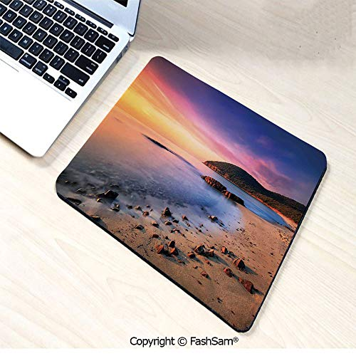 (Mouse Pads Famous Mediterranean Sun Rise on The Beach with Pebbles Tourism Serene Print for Home(W7.8xL9.45))