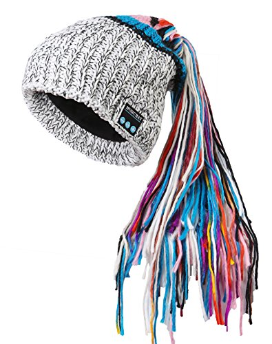 CoCo Fashion Chic Winter Warm Knit Bluetooth Beanie with Wireless Headphone Headset Speakers & Mic Rechargeable Battery Hands Free For Outdoor Sport Best Christmas Gifts for Women Teens Girls (White)