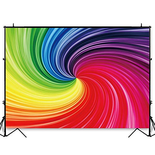 Funnytree 7x5ft Durable Fabric Art Rainbow Backdrop No Wrinkles Spiral Photography Background Colorful Abstract Portrait Baby Shower Birthday Party Banner Cake Table Decorations Photo Studio Booth