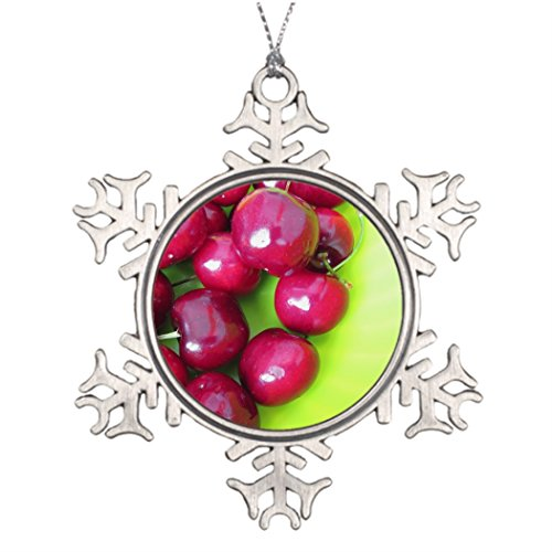 (Tree Branch Decoration Fresh cherries on green backg Outdoor Christmas Decoration Green)
