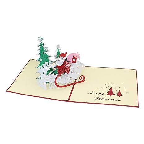 Amazon.com: Wansan 1 tarjeta de felicitación de Navidad 3D ...