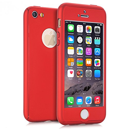 iPhone 5S Case, iPhone 5 Case, iPhone SE Case, NOKEA 360 Ultra Thin Full Body Coverage Protection Premium Matte Finish Dual Layer Hard Case Cover & Skin for Apple iPhone 5 5S SE (4.0-inch) (Red) (Iphone 4 For 30 Dollars)