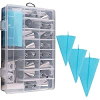 39PCS Pastry Tube Set Piping Tips with Storage Case.Include Icing Tips, Large Piping Nozzles, Couplers, Silicone Pastry…