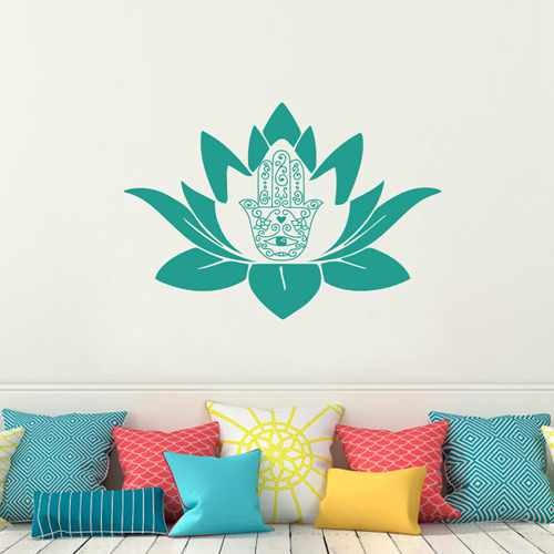 Indian Buddha Fatima Lotus Flower Hand Eye Wall Decal Hamsa Yoga Ganesh Vinyl Wall Art Living Room Decor (Navy blue,m)