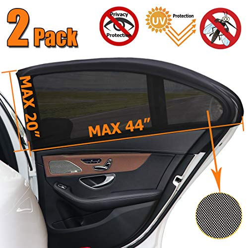 (2 Pack, Car Window Shade, Universal Sun Shade for Car Window, Mesh Net for Car Side Window for Baby, UV Privacy Protection SUV Car Mosquito Net for Kids, Passengers, Fit Most of Vehicle)