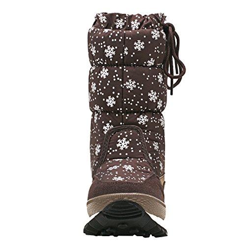 A Cioccolato Stivali Mezza Scarpe da Antisdrucciolo Donna Invernali Neve Gamba Shenji H20612 HSpUOqwH
