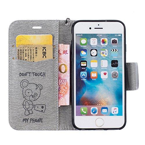 Für Apple iPhone 6 (4.7 Zoll) Tasche ZeWoo® Ledertasche Kunstleder Brieftasche Hülle PU Leder Schutzhülle Case Cover - BF070 / Grizzlybär