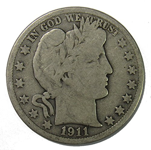 1911 S Silver Barber Half Dollar 50c Very Good