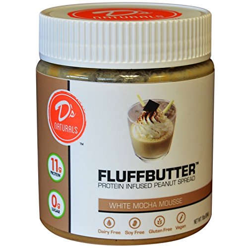D's Naturals Sugar-Free Protein Infused Peanut Fluffbutter, White Chocolate Mousse, 10 Ounce