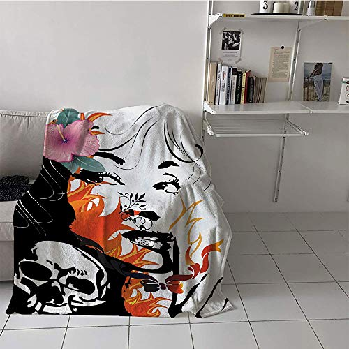 - Khaki home Children's Blanket Portable Digital Printing Blanket (35 by 60 Inch,Tattoo,Attractive Women with Pink Flower in her Hair Near a Skull Design,Orange Pink Black and White