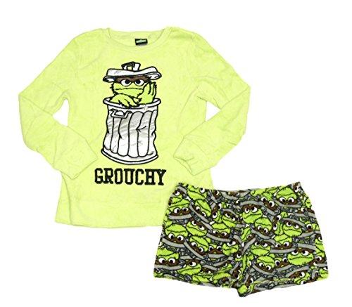 MJC International Sesame Street Oscar The Grouch Grouchy Top and Short  Plush Fleece Sleep Set - 3cb99834c