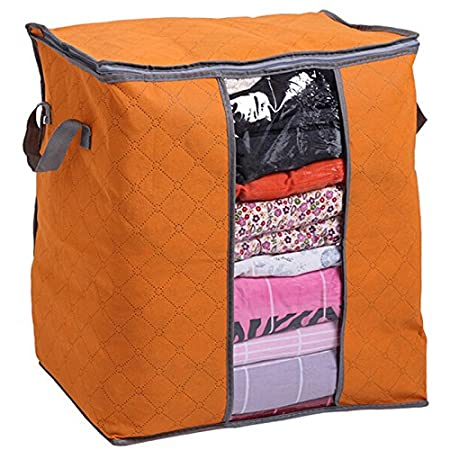 Bolsa de Almacenamiento Plegable compacta para Ropa con Ventana Transparente para Almacenamiento etc YongYI art/ículos del hogar Clothing Bag 50 * 45 * 30cm Ropa Azul colchas Ropa de Cama