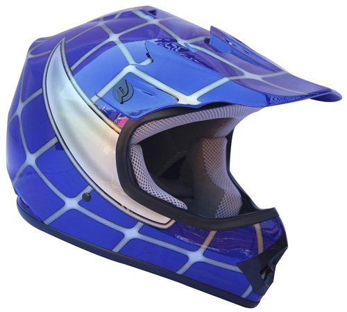 AMZ Off Road Motocross Motorcycle Helmets for Kids(Spider Blue,Large)[DOT] ATVs/UTV/Dirt-Bike/Go-cart/Adventure