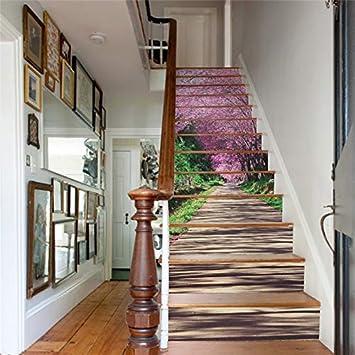 Creativo Diy 3D Escalera Colorido Pegatinas Sakura Trail Patrón Para Escaleras De La Casa Decoración Escalera Etiqueta De La Pared 13 Unids/Set: Amazon.es: Bricolaje y herramientas