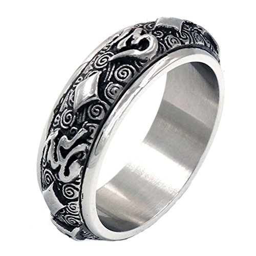 JAJAFOOK Mens Buddhist Hearts Six Words Mantra Scriptures Spinner Ring Titanium Steel Spins Band Rings