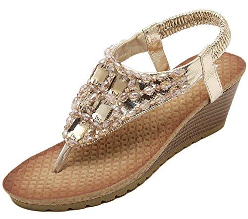 Beaded Strap Flip Flop (Yotani Women's Shoes Sandals Wedges Summer Fashion Thong Beaded Slingback Ankle Strap Medium Heel Sandals Size 6 US Gold)