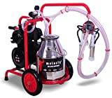 Melasty Cow milker Machine Portable Electric with Wheels to Ease Milk Transportation. Milk 6 to 10 Cows in 1 Hour.