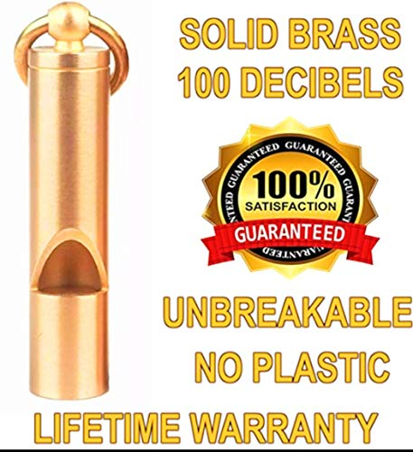 Loudest Brass Whistle   Best Premium Emergency Whistle   One Piece   Outdoor Survival Whistle   Whistle for Teachers   On Key-Chain or Hang Around Your Neck and Carry it Anywhere!