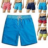 MaaMgic Mens Quick Dry Solid Swim Trunks with Mesh Lining Swimwear Bathing Suits,Blue-glm005,Medium