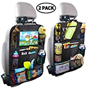 #LightningDeal MZTDYTL Car Backseat Organizer with Touch Screen Tablet Holder + 9 Storage Pockets Kick Mats Car Seat Back Protectors Great Travel Accessories for Kids and Toddlers(2 Pack)
