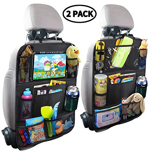 MZTDYTL Car Backseat Organizer with Touch Screen Tablet Holder + 9 Storage Pockets Kick Mats Car Seat Back Protectors Great Travel Accessories for Kids and Toddlers(2 Pack) ()