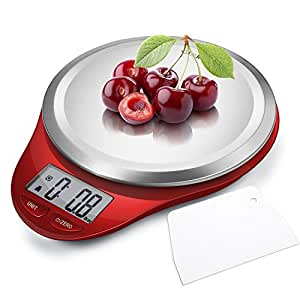 CAMRY Kitchen Scales Digital Multifunction Food Scale with LCD Display for Home Baking Diet Cooking, 0.04oz(1g)11lb, High Accuracy Electronic Scale, Anti-Fingerprint, Tare & Auto Off Function Red