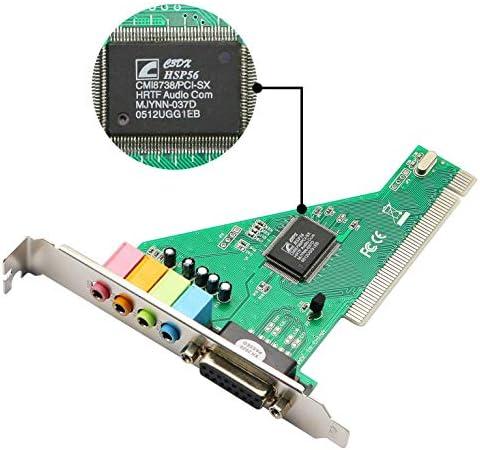 Scheda Audio Interna Canale 4.1 con Disco Ottico Ccylez Scheda Audio PCI Scheda Audio Stereo Digitale SPDIF a 24 Bit per Tensione del Segnale Win 98//Win 2000//XP//NT