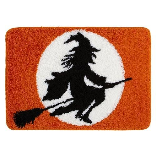 Halloween Flying Witch Bath Rug (Black