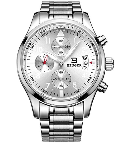 BINGER Mens Luminous Business Casual Quartz Wrist Watch with Stainless Steel Strap,Silver Dial