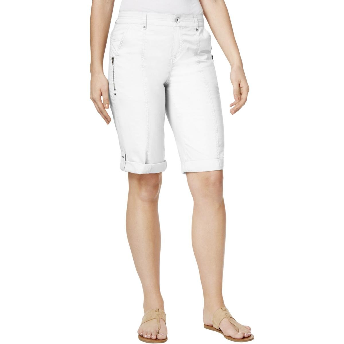 Style & Co.. Womens Petites Mid-Rise Adjustable Bermuda Shorts White 4P