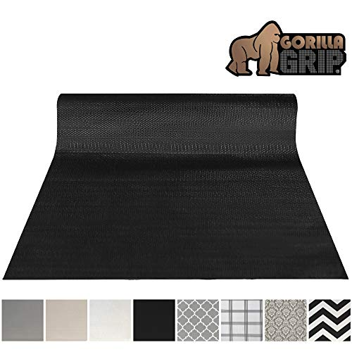Gorilla Grip Original Smooth Top Slip-Resistant Drawer and Shelf Liner, Non Adhesive Roll, 12 Inch x 20 FT, Durable Kitchen Cabinet Shelves, Liners for Kitchens Drawers and Desks, Black (Best Kitchen Drawer Liner)