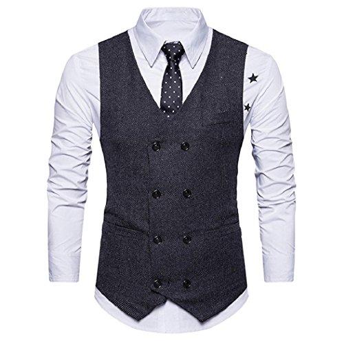 Double Breasted Tweed Coat (Serzul Men Formal Tweed Check Double Breasted Waistcoat Retro Slim Fit Suit Jacket (Black, M))
