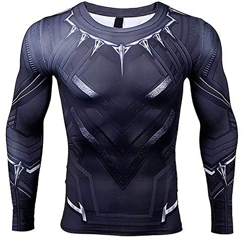 Super Hero Costume Panther Compression T-Shirt Tight Cycling Clothes Sport T-Shirt(L)