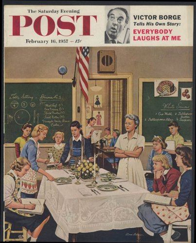 Saturday Evening Post COVER ONLY 1957 Stevan Dohanos Home Ec setting table