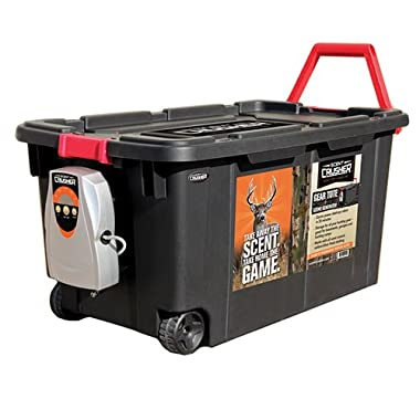 Scent Crusher Hard Tote to Scent Crusher Tote with Ozone Generator, Destroys Odors within 30 mins., Heavy Duty 40 Gal. Tote, Great for Permanent Storage or Traveling, Padlock Compatible