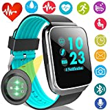 Fitness Tracker with Heart Rate Blood Pressure Monitor Smart Watch GPS Activity Tracker for Men Prime Gift Women Summer Sport Smartwatch Calories Pedometer Sync Phone Calls SMS Android iOS (Blue)