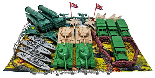 40 Pcs Army Set Big Tanks Missiles Jets Trucks (Bonus 4 Jumbo Size Soldiers)