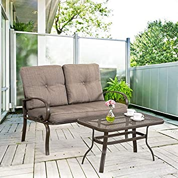 Homevibes 2 Pieces Outdoor Loveseat Patio Love Seat Furniture Set Garden Wrought Iron 2 Seat Bench Backyard Coffee Table Metal Sofa Table Set Cushions, Gradient Brown