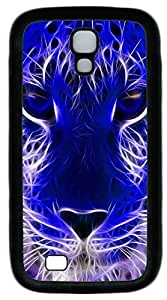 Galaxy S4 Case, Personalized Protective Soft Rubber TPU Black Edge Blue Tiger Head Case Cover for Samsung Galaxy S4 I9500