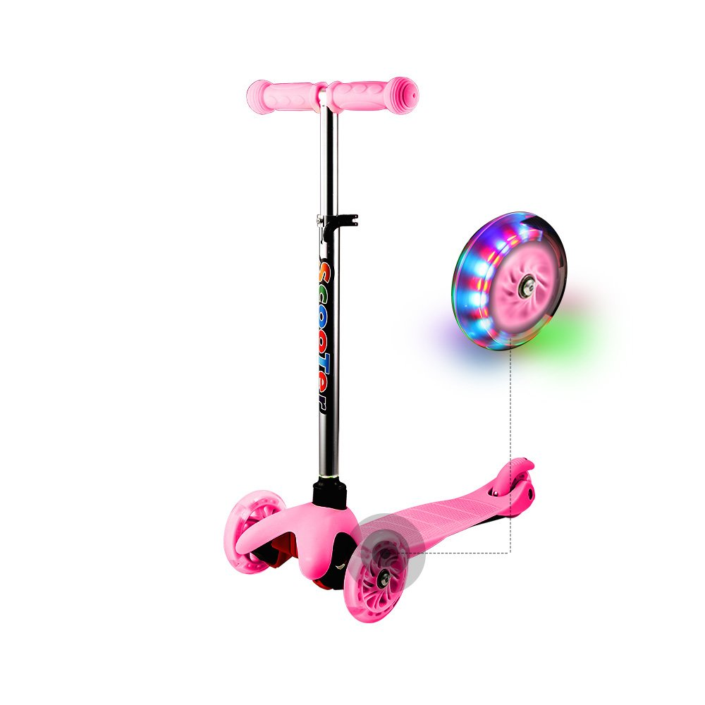 Hikole Kids 3 Wheels Scooter Mini Adjustable Kick Scooter for Toddler Baby Boy Girls Age 2 to 6 Years Old (Pink)