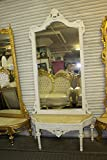 7 FT French Wall Stand White Frame Mirror with Marble Top