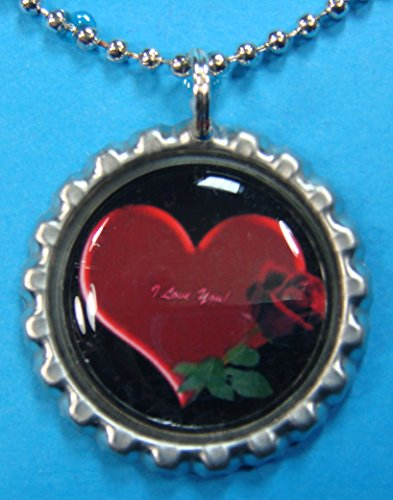 (1 Valentines Day Silver Bottle Cap Pendant Necklace #17)