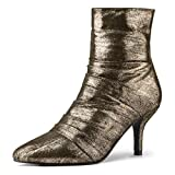 Allegra K Women's Chirstmas Pointed Toe Stiletto Heel Metallic Gold Boots Gold Ankle Boots - 5.5 M US