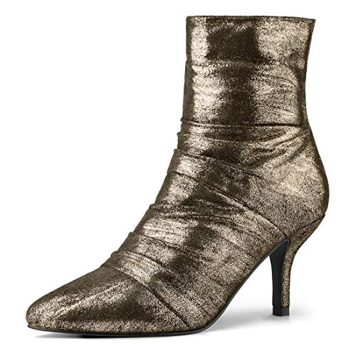 Allegra K Women's Chirstmas Pointed Toe Stiletto Heel Metallic Gold Boots Gold Ankle Boots - 5.5 M ()