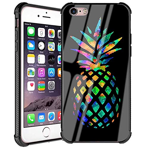 iPhone 6s Plus Case,iPhone 6 Plus Case Fashion Pineapple Pattern Design Black Tempered Glass Back + Soft Silicone TPU Shock Absorption Bumper Protective Case Compatible for iPhone 6/6s Plus